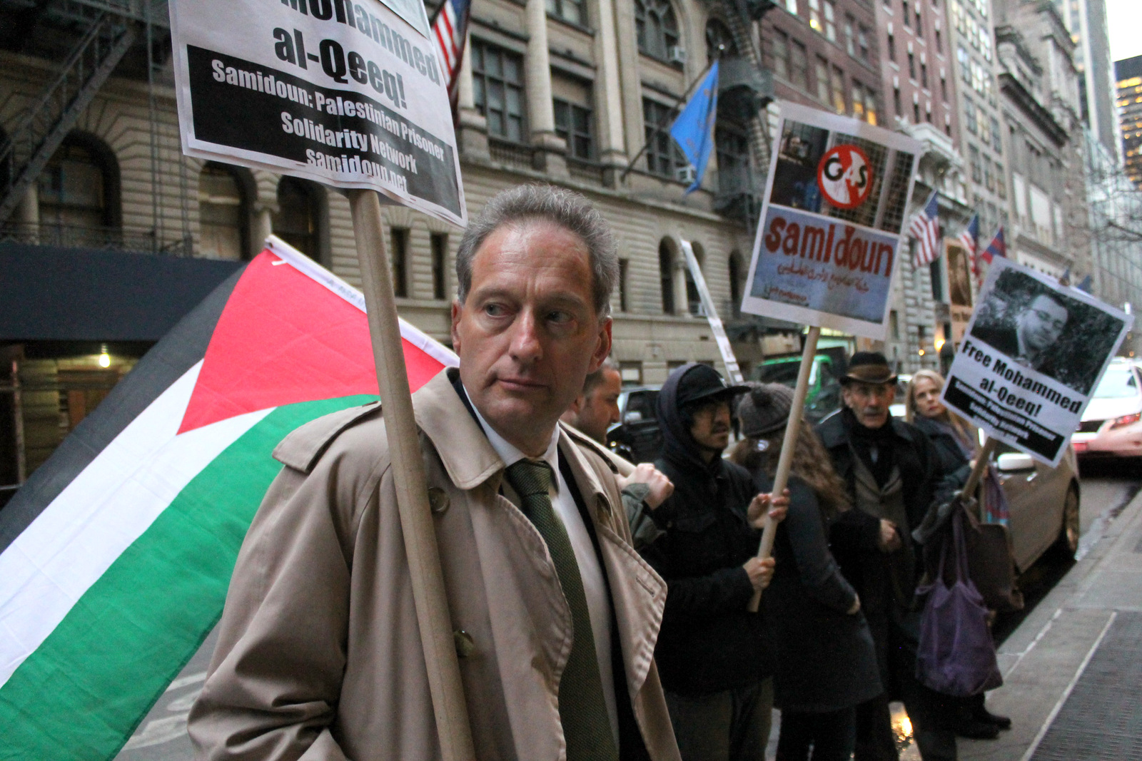 New Yorkers took to the streets on Friday, 29 January to demand the immediate release of imprisoned Palestinian journalist Mohammed al-Qeeq, on his 66th day of hunger strike and shackled to his hospital bed in critical condition.