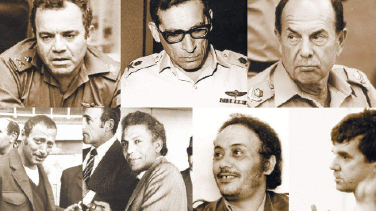 Israeli IDF officers (top, Zeevi in center) with their mafia enforcers, Tuvia Oshri (far left)