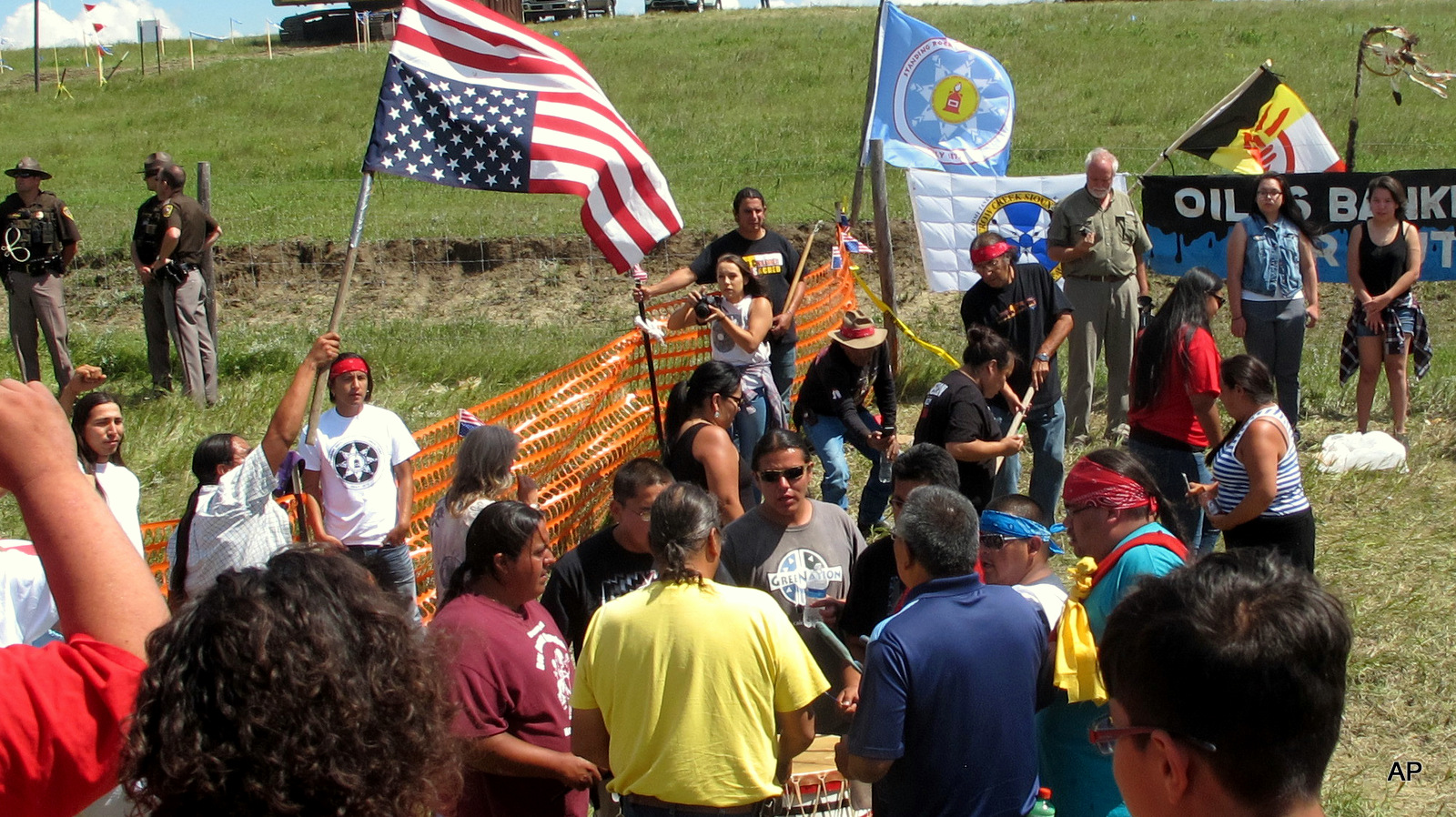 Native Americans protest the Dakota Access oil pipeline on Friday, Aug. 12, 2016 near the Standing Rock Sioux reservation in southern North Dakota.