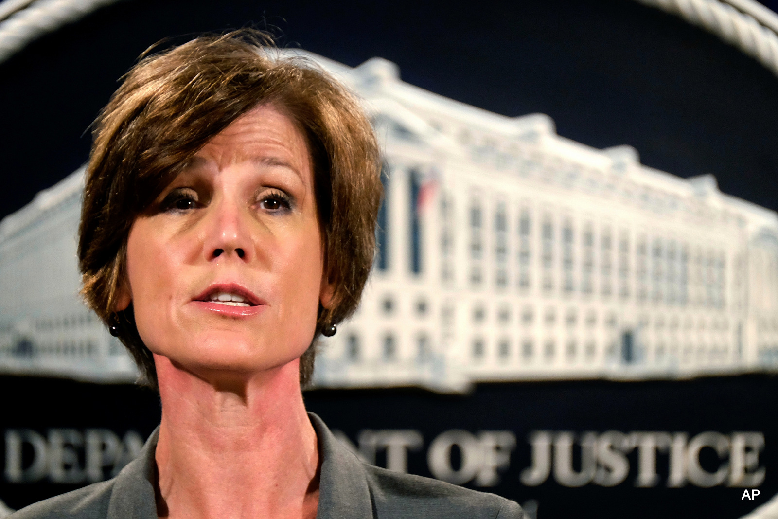 Deputy Attorney General Sally Yates speaks during a news conference at the Justice Department in Washington. The Justice Department says it's phasing out its relationships with private prisons after a recent audit found the private facilities have more safety and security problems than ones run by the government.
