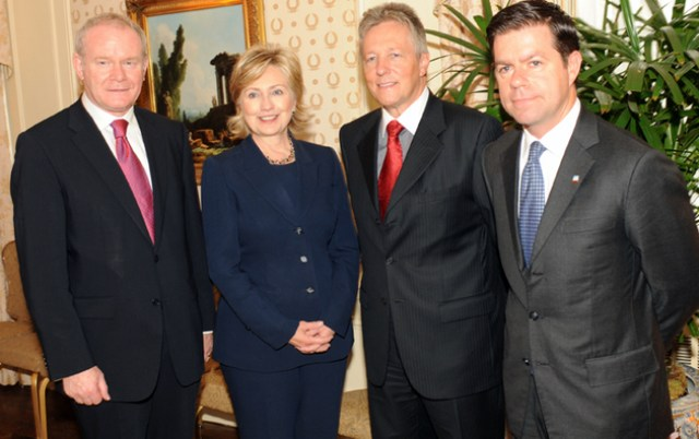 Declan Kelly (far right) with Hillary Clinton, Martin McGuinness and Peter Robinson in New York in 2009.