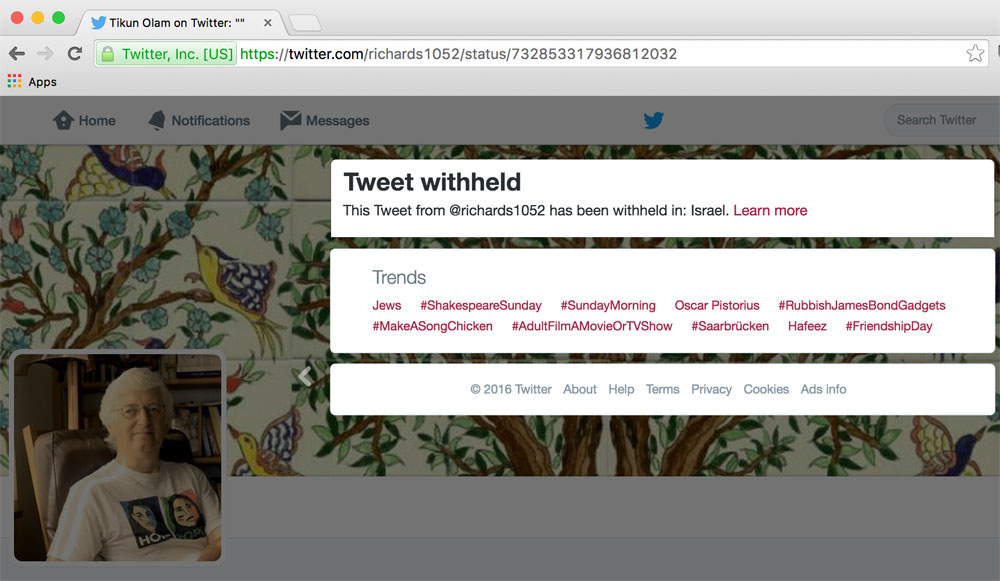 This link from 972 Magazine is a screenshot of what Israeli Twitter users see when they attempt to access the tweet.