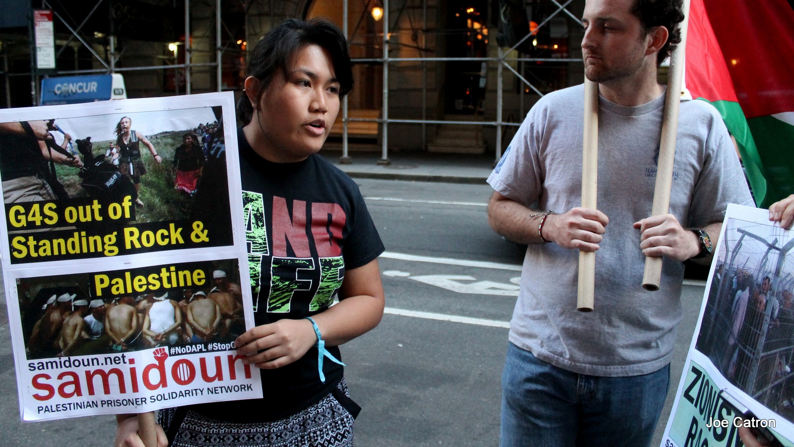 Activists rallied outside of the Manhattan, New York office of British-Danish security conglomerate G4S, before marching twice through the building's lobby, to protest the company's services to the Dakota Access Pipeline and Israel's prison system on Friday, September 16, 2016.