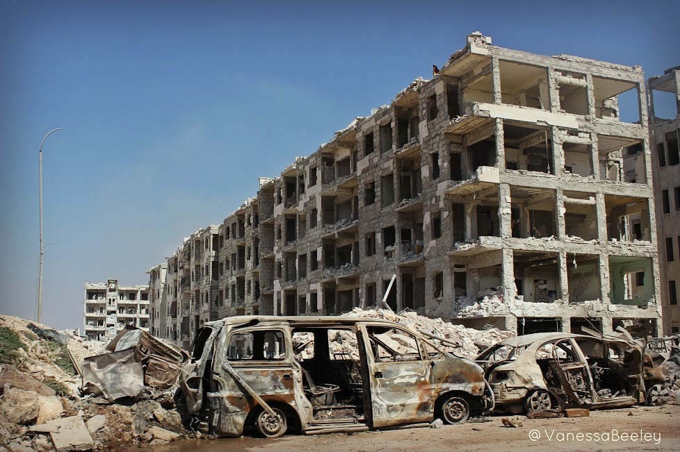 """The extent of the destruction inflicted upon the Kurdish-held Sheikh Maqsoud by the U.S.-backed """"moderate rebels"""" and the scars of the battle for its liberation are highlighted in the state of the neighborhood's infrastructure. (Photo by Vanessa Beeley)"""