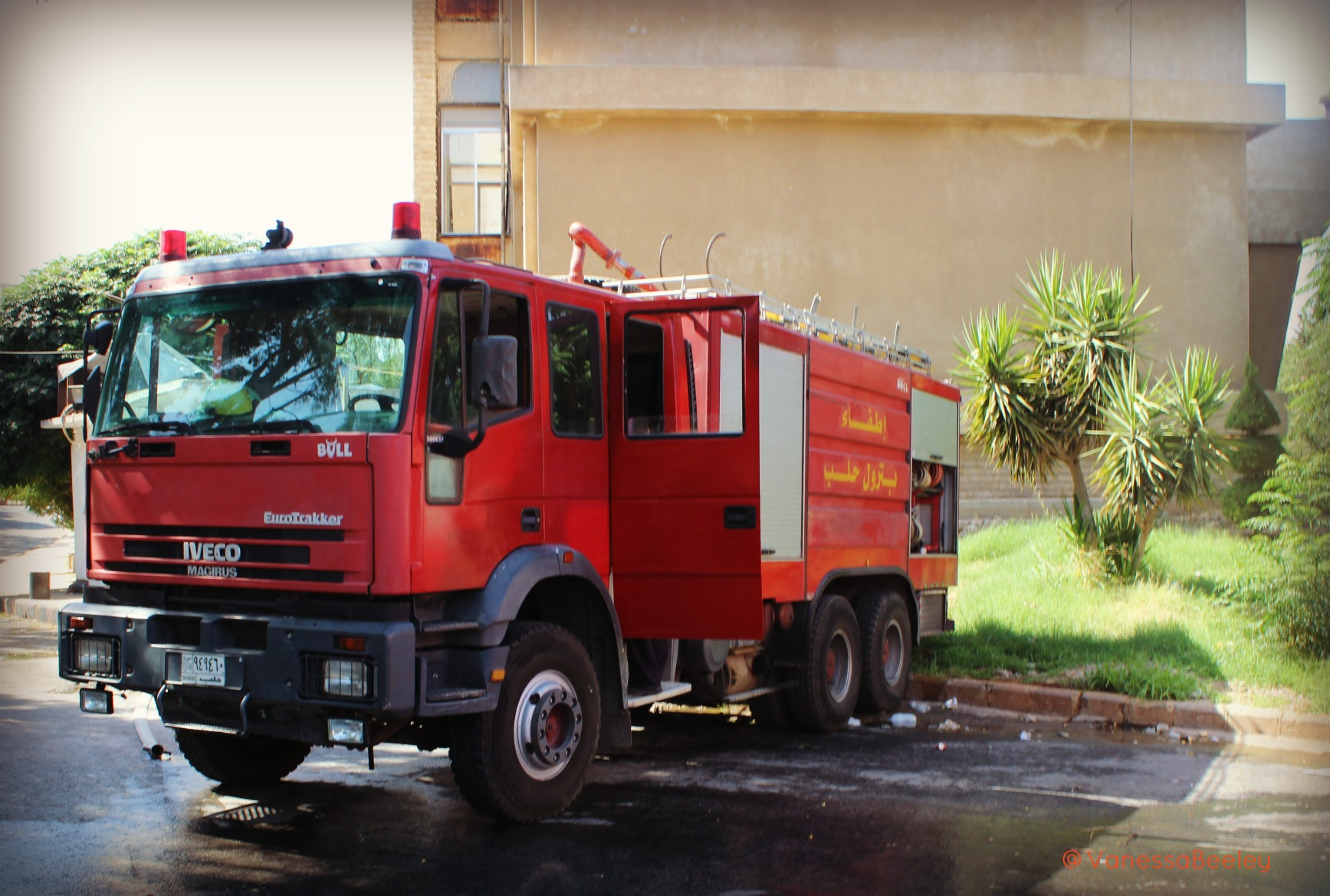 One of the real Syria Civil Defense's fire engines parked at their unit in western Aleppo. (Photo: Vanessa Beeley)