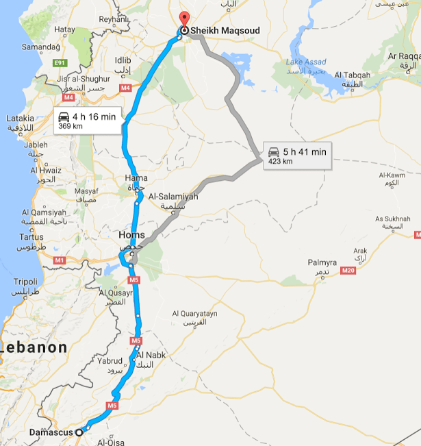 A screenshot of the route from Damascus to Sheikh Maqsoud, a Kurdish-held neighborhood in Aleppo. Provided by Vanessa Beeley.