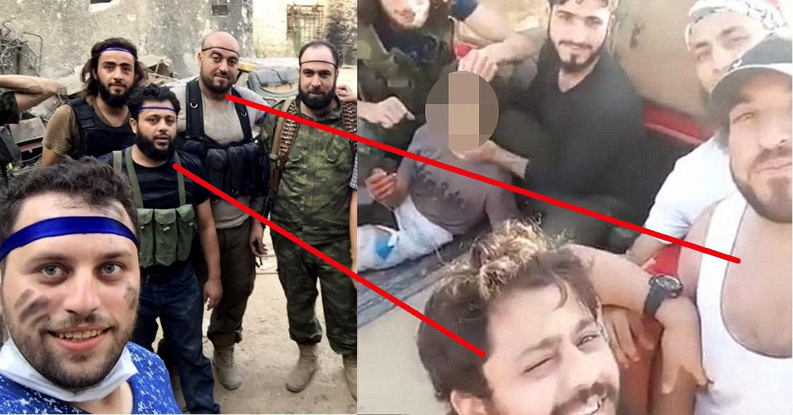 Mahmoud Raslan (in blue; bottom left) taking a selfie with two of the men who tortured Abdullah Issa. Photo: Mahmoud Raslan (in blue; bottom left) taking a selfie with two of the men who tortured Abdullah Issa. (Photo: The Canary)
