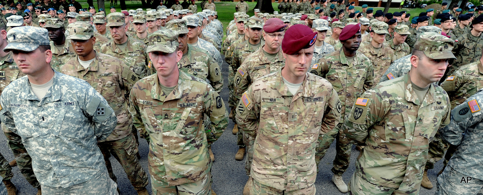 U.S. Army soldiers representing units participating in the the Anaconda-16 military exercise, attend the opening ceremony, in Warsaw, Poland, Monday, June 6, 2016. Poland and some NATO members launched their biggest ever exercise, involving some 31,000 troops in a show of force to neighboring Russia.