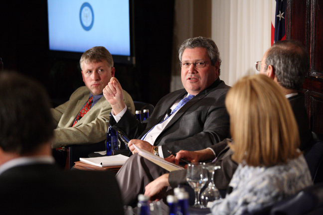 "Robert Kagan (center). speaks at the ""Reagan in a World Transformed,"" event in February, 2011, at the National Press Club in Washington D.C. (Photo: flickr/cc/Miller Center)"