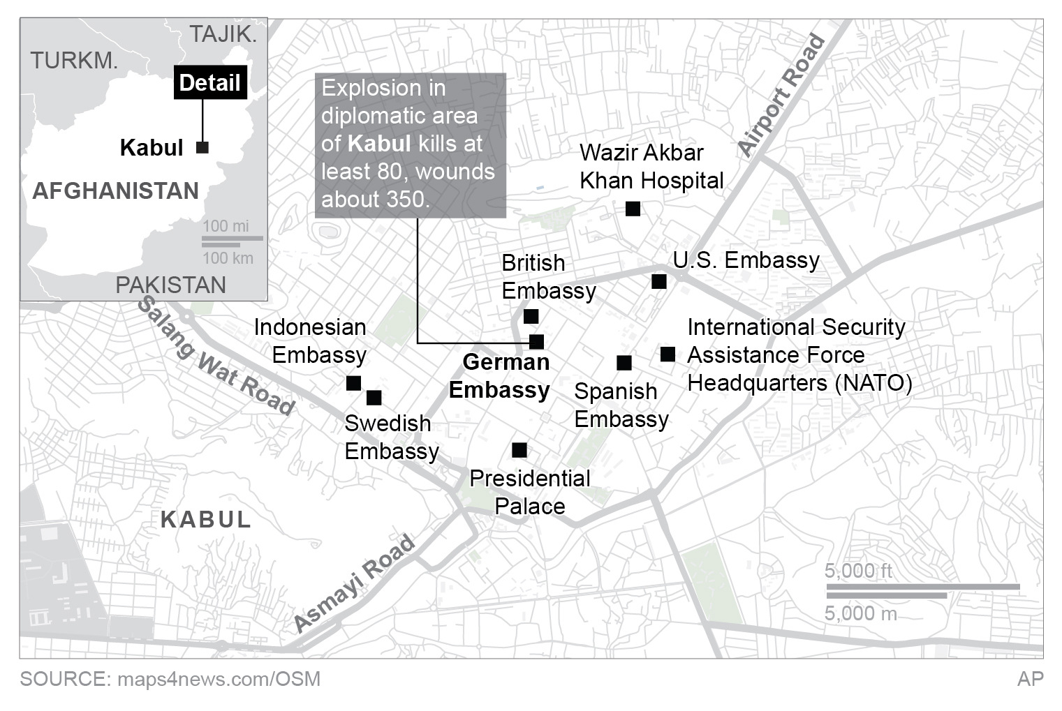 On Kabul Diplomatic Zone Leaves 80 Dead