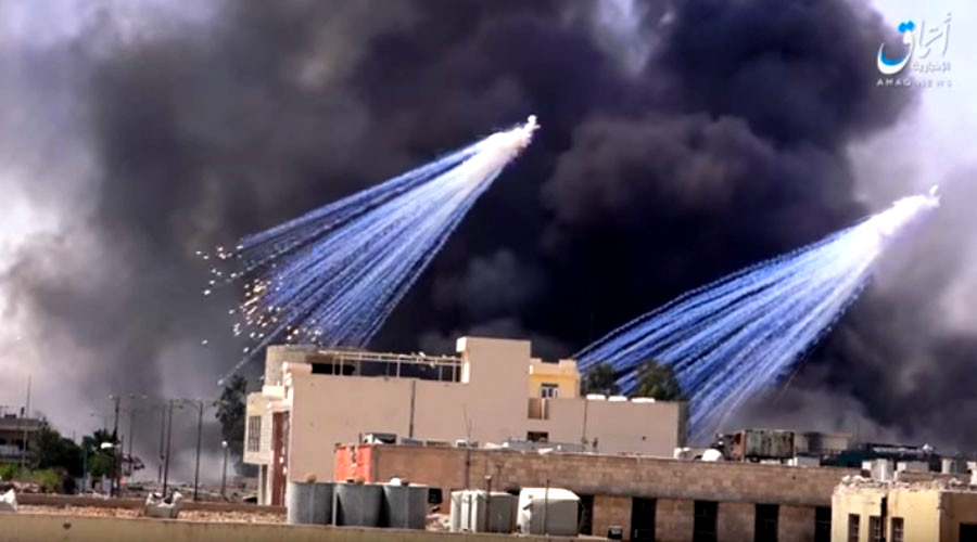 Alleged deployment of white phosphorus munitions in Raqqa, Syria. as reported by ISIS-linked Amaq news. (Photo: YouTube)