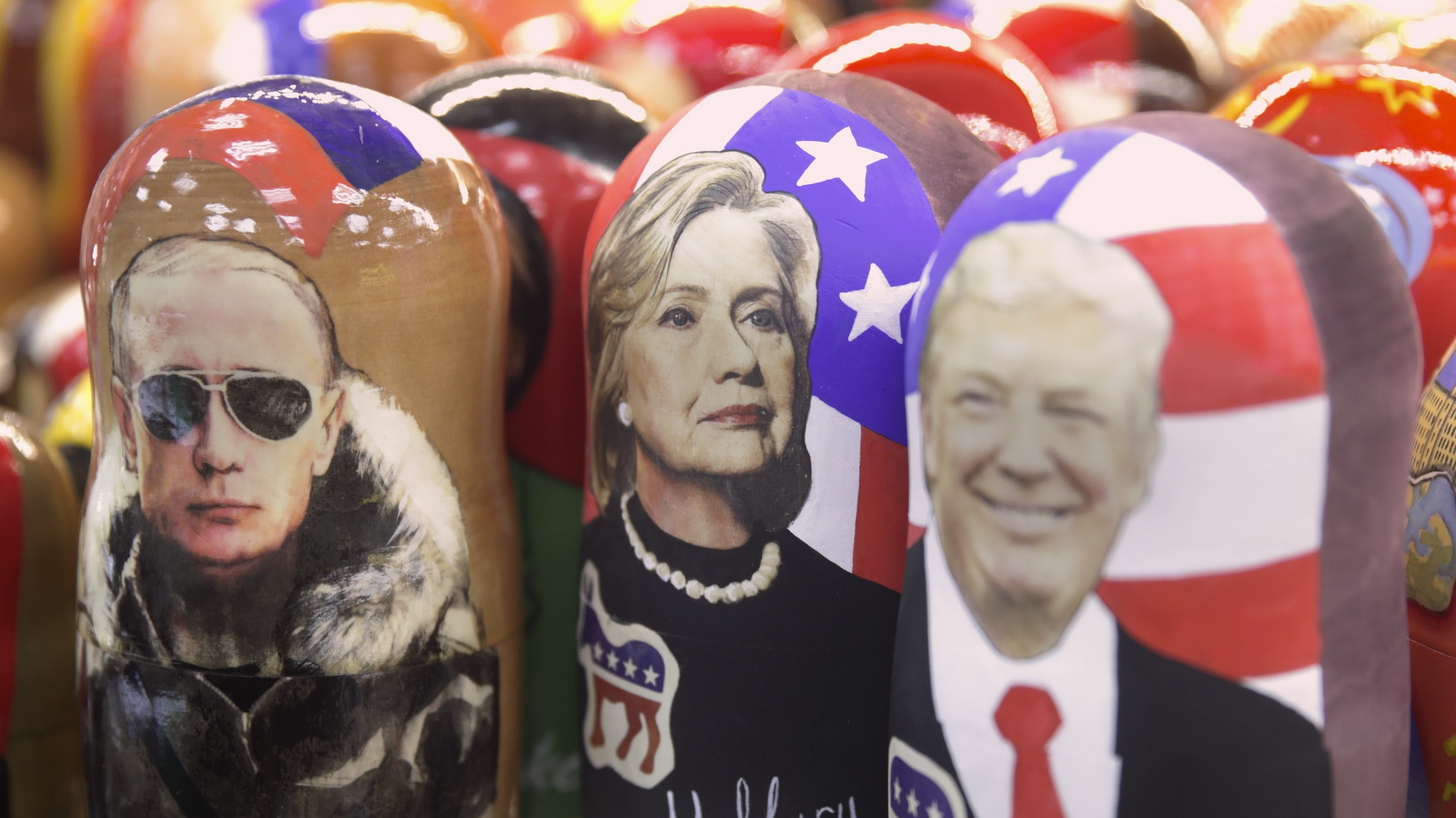 Traditional Russian Matreskas depicting Vladimir Putin, Hillary Clinton and Donald Trump displayed in a shop in Moscow. Nov. 8, 2016. (AP/Pavel Golovkin)