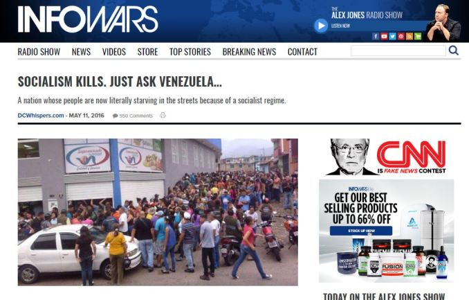 A May, 11 2016 article republished on Infowars.com from right-leaning DCWhispers.com.