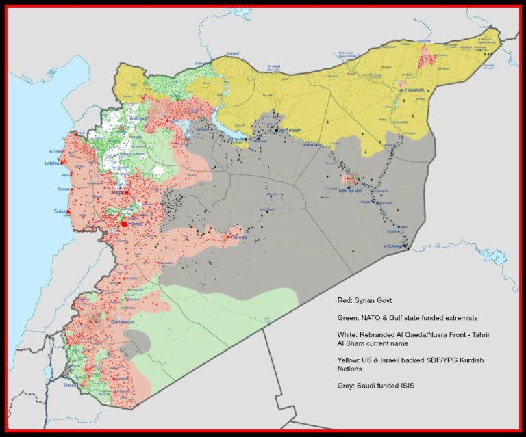 Map showing areas controlled by the Syrian government, as well as NATO and Gulf state-funded extremist and terrorist factions. (Photo: 21WIRE)