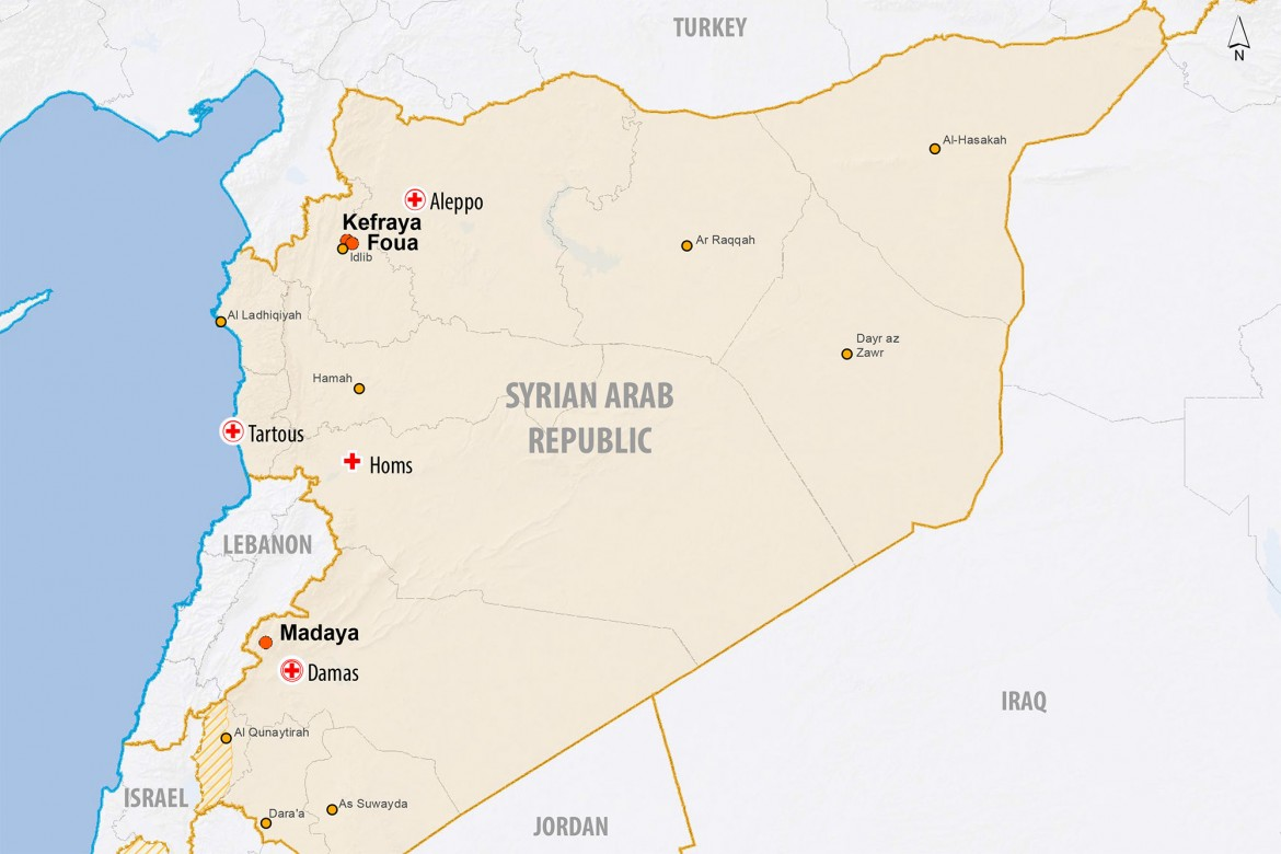 Map of Syria showing the ICRC's presence and the location towns of Madaya, Foua and Kefraya. (Map: ICRC)