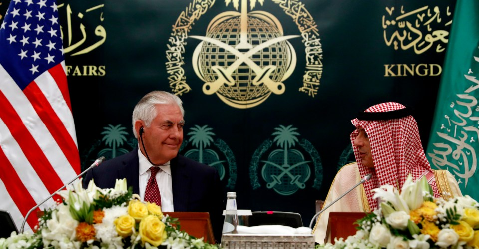 Secretary of State Rex Tillerson listens during a press conference with Saudi Foreign Minister Adel Ahmed Al-Jubeir, Oct. 22, 2017, in Riyadh, Saudi Arabia. (AP/Alex Brandon)