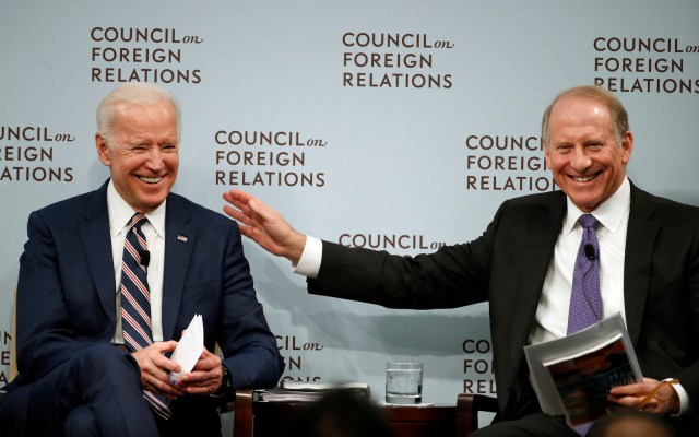 Former Vice President Joe Biden, left, speaks about U.S. relations with the Kremlin at the Council on Foreign Relations, with Richard N. Haass, President of the Council on Foreign Relations, Jan. 23, 2018, in Washington. (AP/Alex Brandon)