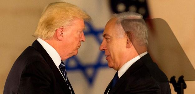 US President Donald Trump and Israeli Prime Minister Benjamin Netanyahu embrace at the Israel museum in Jerusalem, May 23, 2017. (AP/Sebastian Scheiner)