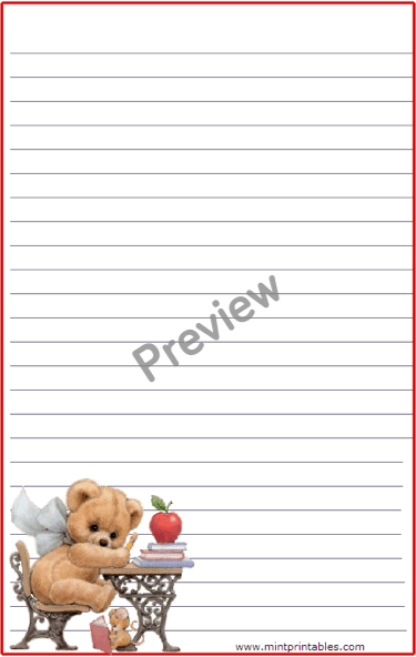 Cute Teddy Bear Student Stationery Free Printable