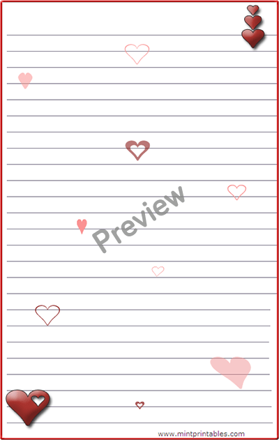 Free Romantic Printable Stationery With Hearts