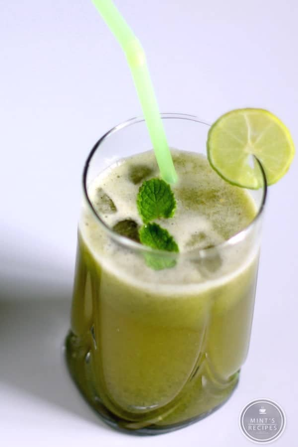 Cucumber Mint Lemonade on a glass