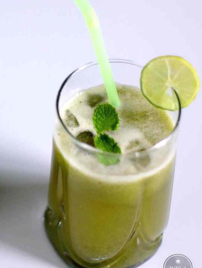 Cucumber Mint Lemonade on a glass