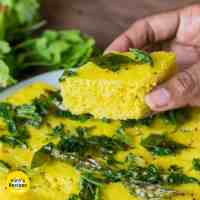 Instant Khaman Dhokla on a white plate
