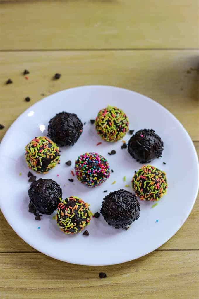 Chocolate Biscuit Balls on a white plate