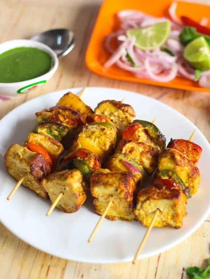 Paneer Tikka Recipe – How To Make Paneer Tikka At Home – Indian Vegetarian Recipe