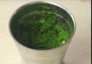 green paste is ready in jar