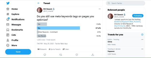 sondage meta mots-clés Twitter