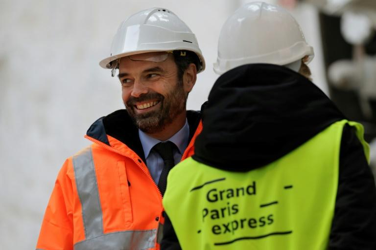 Le Premier ministre Edouard Philippe lors d'(une visite sur un chantier du Grand Paris à Champigny-sur-Marne, le 23 janvier 2018