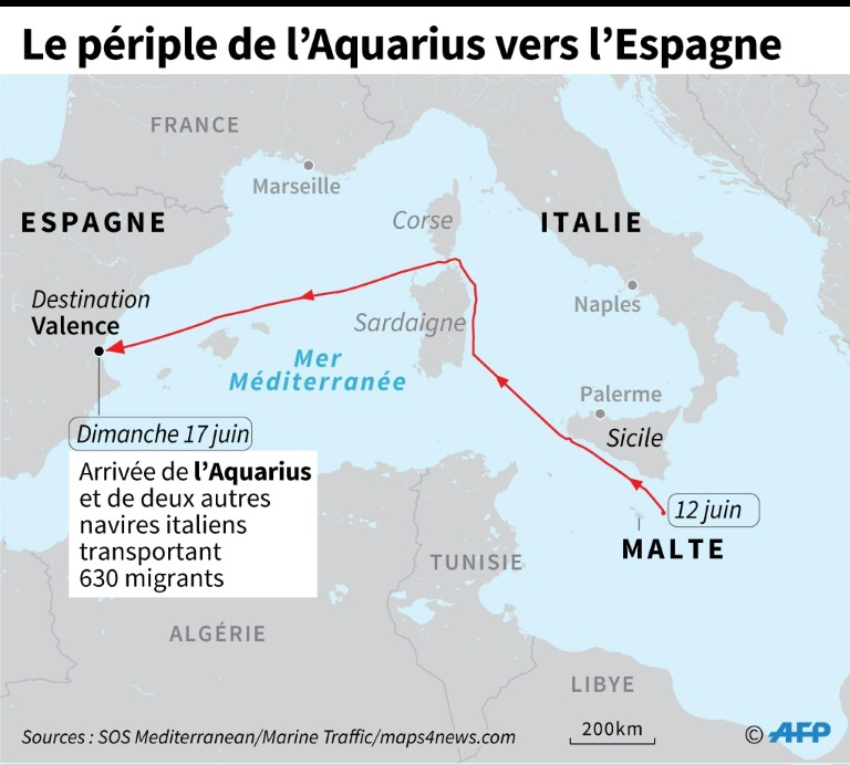 Le périple de l'Aquarius