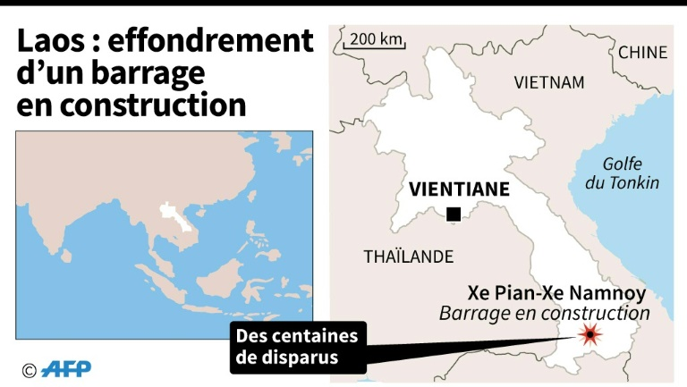 Laos: effondrement d'un barrage