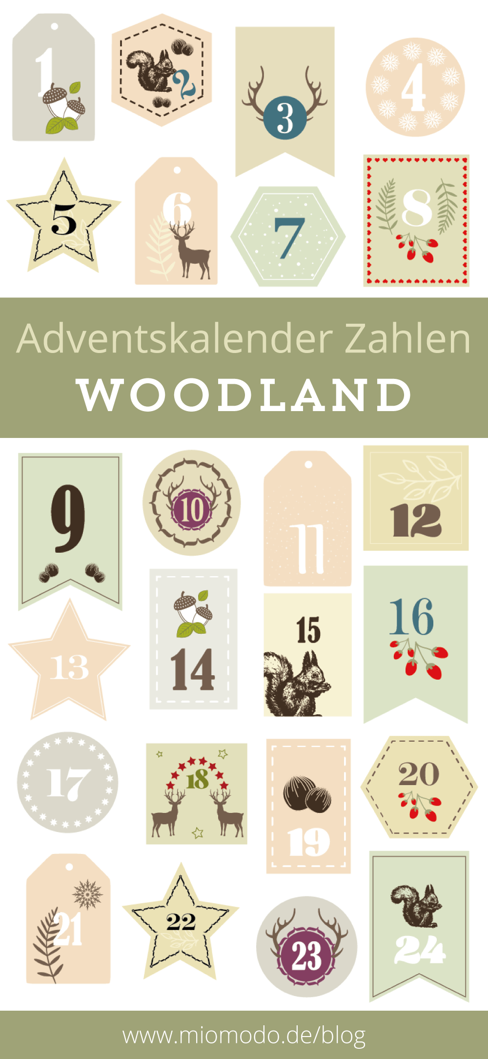 diy adventskalender zahlen woodland miomodo diy blog. Black Bedroom Furniture Sets. Home Design Ideas