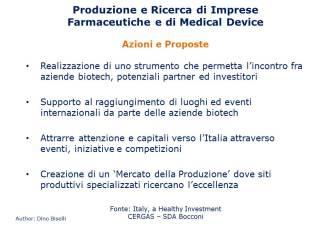 Produzione e ricerca delle imprese del farmaco e dei produttori di medical device