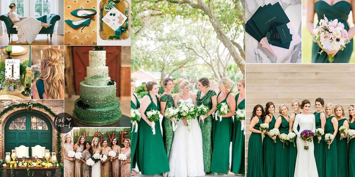 Vestidos para damas de boda color verde esmeralda
