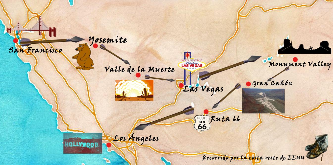 Mapa Eeuu Costa Oeste.Ruta Por La Costa Oeste De Estados Unidos En 15 Dias