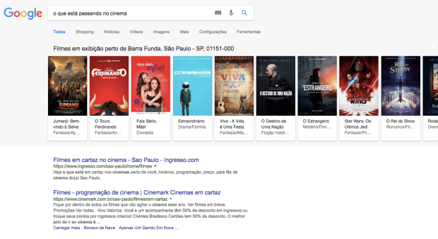 resultado pesquisa google cinema