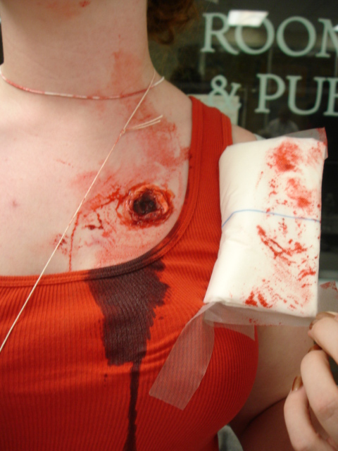trauma, wound, sfx make up, special effects makeup, horror, gore, gunshot wound, liquid latex, blood