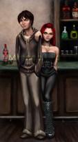 bar, alcohol, bar counter, man, woman, hooded sweatshirt, red hair, digital art