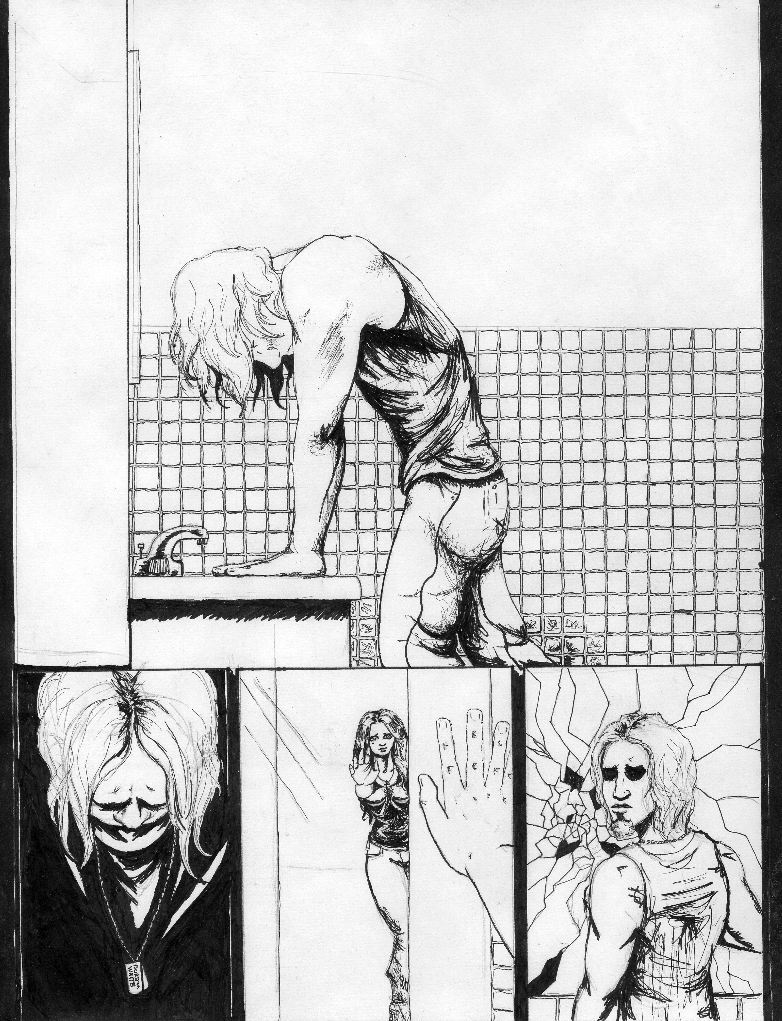 comic page, comic panel, layout, comic, ink, inks, man, woman, bathroom, tile, black and white, broken mirror