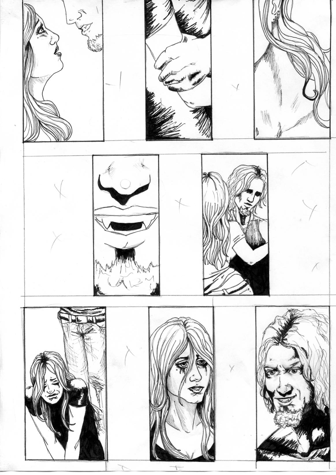 comic page, ink, vampire, man, woman, comic panels, comic layout