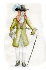 costume rendering, watercolors, period study, 3 musketeers