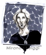 headshot male blond dog tags marker drawing sketch