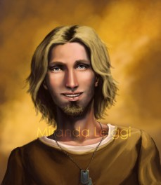Head shot, character study, blond, blue eyes, male, man, dog tags, digital art, portrait