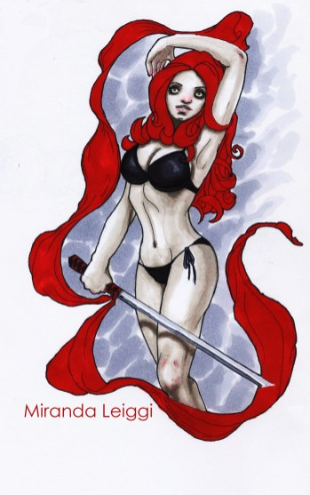 copic marker drawing, sword red hair