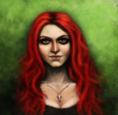 portrait, digital art, woman, green eyes, red hair, cross necklace, realism