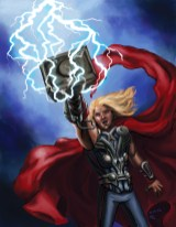 Thor, Hammer, Lightning, red cape, armor