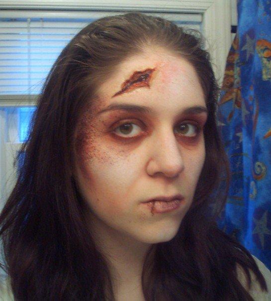 trauma, wound, sfx make up, special effects makeup, wax, liquid latex, blunt force trauma, head wound